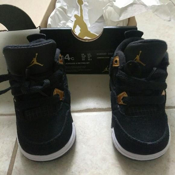 8beafbba5250b9 Jordan Other - Infant Air Jordan Retro 4 Black and Gold